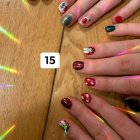 Co-workers creating their Christmas nails